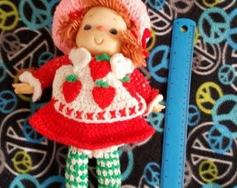 Vintage hand knit strawberry shortcake doll