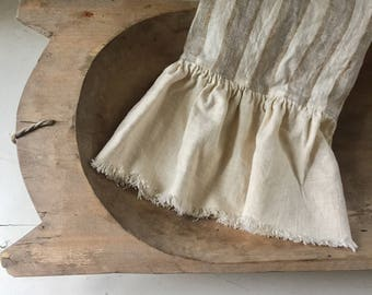 Striped Linen Tea Towel with Frayed Ruffle