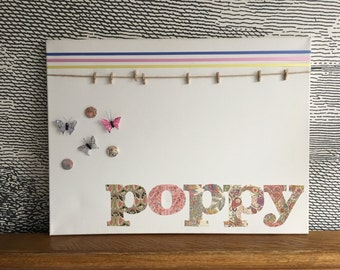 "Personalised decorative peg board - with 3D butterfly design icon - 18"" x 24"" - poppy"
