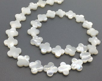 5pcs 12mm Mother Of Pearl Four Leaf Clover Beads,Four Leaf Clover Beads for Jewelry Making