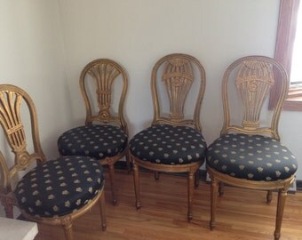 French Louis XVI Style, Bee Upholstery, Painted Dining Chairs, Set of 4
