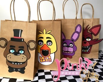 Five Nights at Freddy's Favor Bags, FNAF Favor bags, Five nights at freddys Birthday Party, FNAF Birthday Party