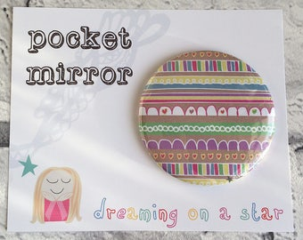 Pocket Mirror, Hand Mirror, Cute Mirror, Mirror, Hen Party Favors, Makeup Mirror, Cute Gifts, Party Favors, Pretty Gift, Birthday gift
