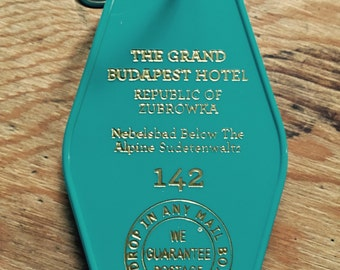 New style!  Grand Budapest Hotel Inspired Keytag - In Teal & Gold!
