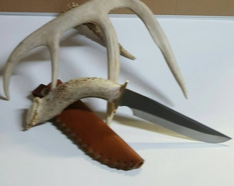8 inch Pistol Grip Antler Handled knife with sheath