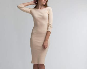 Bussiness Dress \ FREE Shipping\ CUSTOM MADE\ Beige Dress\ Casual Midi Dress\ Elegant Fitted Dress\ Wedding Guest Dress\ Elbow Sleeve Dress