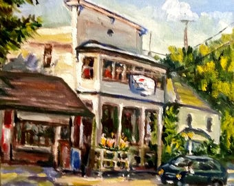 "Original Oil Painting, Favorite Conner Store, 1703082,12""x9"""