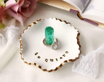 wedding ring dish scalloped ring holder i love you jewelry plate quartz crystal