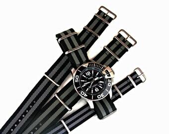 NATO G10 ® Bond Black/Grey Ballistic Nylon Watchband Military watchband watchstrap natoband natostrap