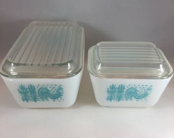Pyrex Amish Butterprint Set - Pyrex Refrigerator Set - Vintage Pyrex - Turquoise Pyrex - Kitchen Storage - Pyrex with Lids - Pyrex Storage