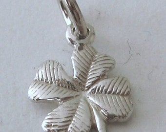 Genuine Solid 925 Sterling Silver 3D 4 FOUR LEAF CLOVER Charm/Pendant