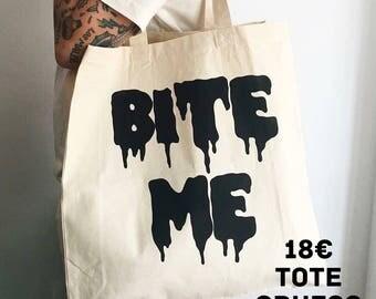 "Thick Tote ""Bit Me"" / Boobie Power / screen printed totebag"