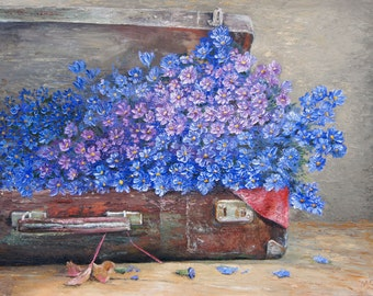 Original oil painting on canvas,  Fine Art, door, Picture 60 x 80 cm,