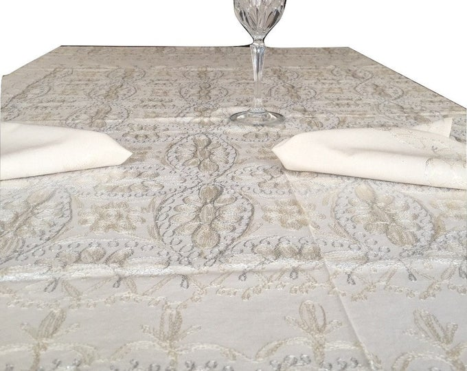 tablecloth 60 X 60 inches, and 6 napkins, Aghabani Tablecloth, Embroidered beige tablecloth, Syrian textiles, Beige and silver tablecloth