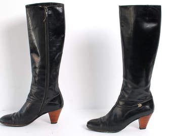 Vintage 70s 80s SALVATORE FERRAGAMO Black Leather RIDING Tall Boots
