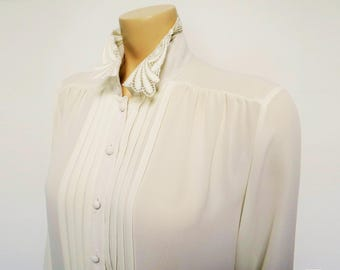 Vintage Cream Blouse, Boho, UK14, 1980s, Secretary Blouse, Vintage Clothing, Cream Shirt, Gypsy Blouse, Ladies Clothing, Blouse