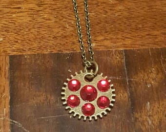 Jewelled Gear Charm Necklace