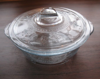 Vintage Antique Glass Fire King Philbe Pattern Sapphire Blue Small Casserole Dish With Lid 1940s