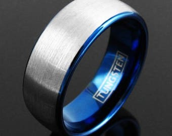 Tungsten Ring Blue w/ Silver Brushed Domed Men's Band Bridal Jewelry - 8mm Black Meteorite Inlay Wedding Band - Tungsten Carbide Mens Ring
