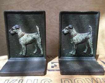 Pair of antique, cast iron bookends, Airedale terrier, Fox Terrier, Bradley & Hubbard, circa 1920