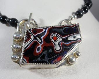 Sterling Silver Fordite Pendant Necklace