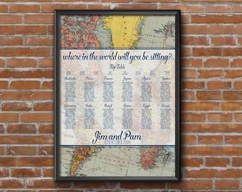 Vintage Travel Wedding Seating Chart Table Plan - Poster Print - Digital Download - Wedding Printable - Table Plan