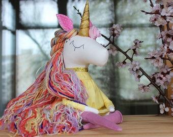 Unicorn Handmade Toy Magic Unicorn Rainbow Unicorn Soft Toy Textile Toy Gold Unicorn Unicorn Toy Unicorn Doll Unicorn Party Birthday Unicorn