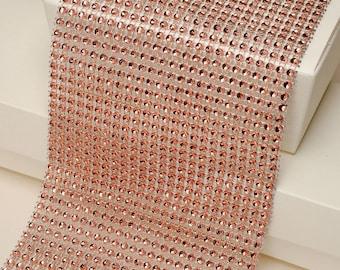 Diamante Effect  Cake Mesh Ribbon– Rose Gold x 1m