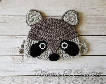 Crochet Racoon Hat, Racoon Hat, Baby Racoon Hat, Child Racoon Hat, Adult Racoon Hat, Racoon Birthday Hat