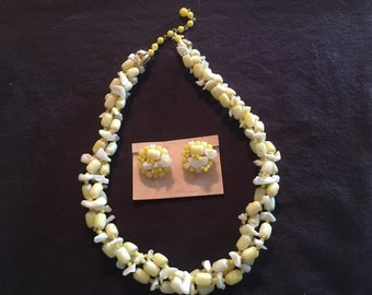 Vintage Japan Beaded Necklace Matching Earrings Yellow Tones