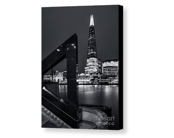 Canvas print of a the Shard across the Thames in westminster britain landscape architecture city night british travel black glass art hot uk
