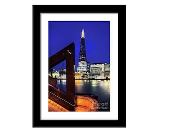 Framed print, The Shard across the Thames westminster britain landscape architecture city night british travel black glass art gift present