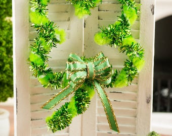 St. Patrick's Day Shamrock Shaped Wreath - 1:12 Dollhouse Miniature