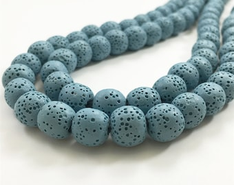 8mm Natural Lava Beads,Blue Lava Rock Beads,Lava Beads,Jewelry Making