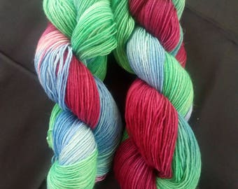 """100g hand dyed socks wool, 4x """"color pot"""""""
