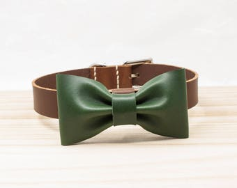 Leather Dog Collar | Bowtie Dog Collar | Dog Collars | bowtie bow tie dog collar | personalized ID custom stamp | pet collar | ShinyLake