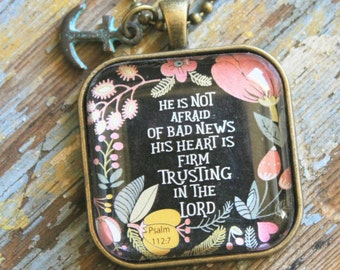 Necklace-He is not afraid of bad news-Gospel Necklace
