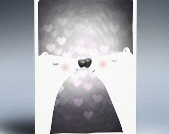 Printable art, Bear print, Instant download gift, Wall art, Digital poster, Home decor, Digital drawing, Polar bear Illustration