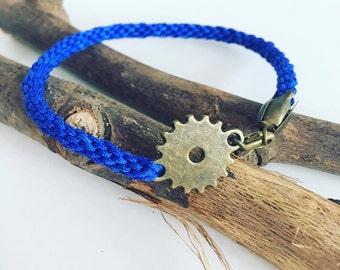 """""""Vintage blue COG"""" Kumihimo bracelet"""