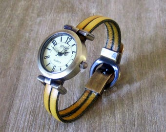 Watch real yellow, Bronze, clasp loving Bronze Dial Leather Bracelet