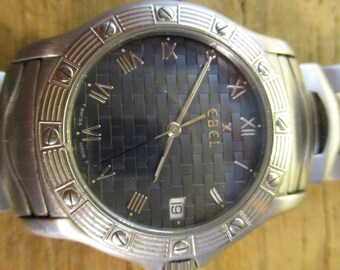 Rare Ebel Dress Wave Stainless Steel Swiss Blue Dial Men's Women's Wrist Watch DressWave E 9187941/ Ebel Watches