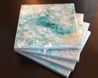 Blue & Silver - Marbled Tile Coasters (set of four)