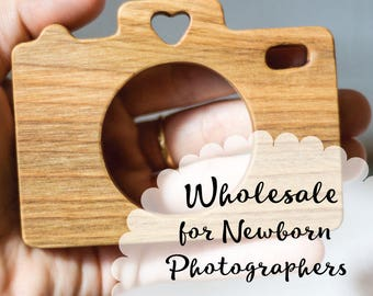 12 Wooden Camera Teether + Personalization