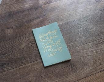 Simply Joys hand lettered embossed moleskine journal