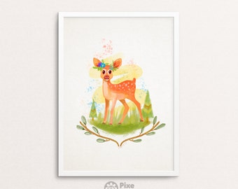 Baby Deer Watercolor Painting Digital Print, Cute Deer, Deer Illustration, Deer Art, Deer Painting, Deer Portrait, Deer Print, Forest Deer