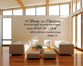 Strong And Courageous Do Not Be Afraid Joshua 1:9 Religious Wall Quotes  Arts Large