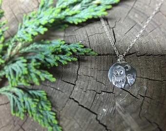Handmade Barn owl Under the Moon Silver Charm pendant, Handmade Silver Owl and Moon round Charm, Handmade Silver Owl and Moon Pendant