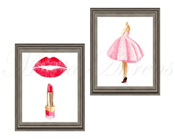 Red Lipstick and Pink Dress Fashion Print Set, Fashion Illustration Prints Set of 2, 8x10 Artwork Set, Pink and Red Decor
