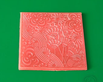 G.F.ArtTools Texture Stamp #8, Polymer Texture Matt, Polymer Clay Texture Plate, Impression Stamp, Flowers Texture Stamp