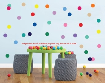 100 Polka Dots Wall Stickers, Round Circle  Confetti Decals, Wall decor idea, Nursery decals, wall stickers, Vinyl wall art stickers